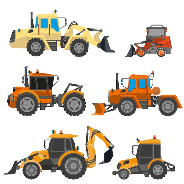 Vector set of construction equipment Premium Vector
