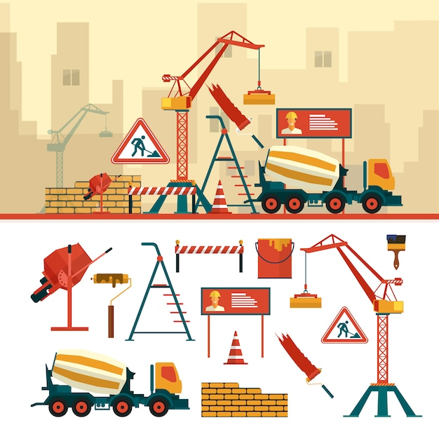 Vector set of construction site objects and tools. construction building equipment. crane, bricks, sign, concrete mixer. Premium Vector