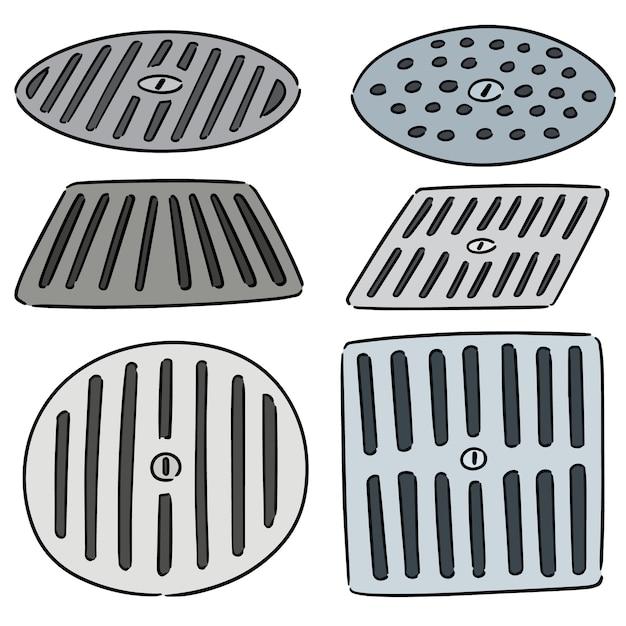 Vector set of cover the drain Premium Vector