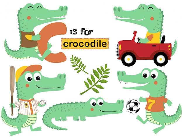 Vector set of crocodile cartoon with various activity Premium Vector