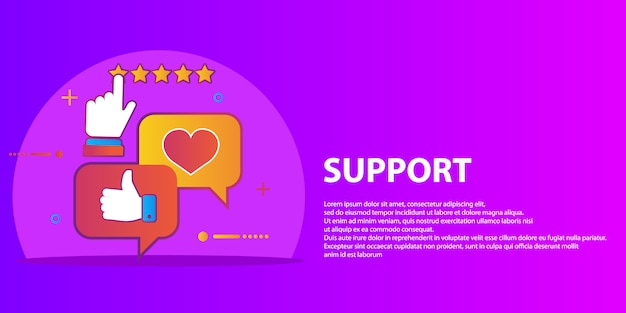 Vector set of customer service in flat style - feedback, survey and support Premium Vector