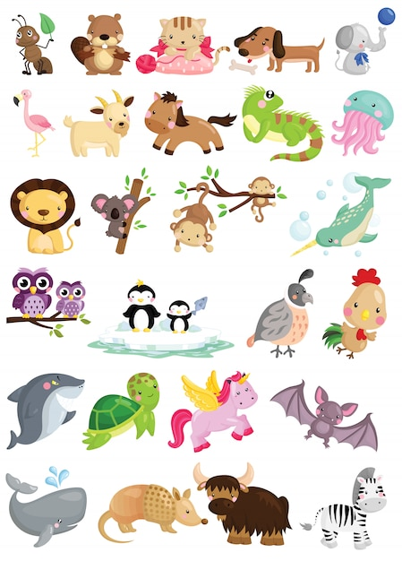 A vector set of cute animals alphabeth Premium Vector