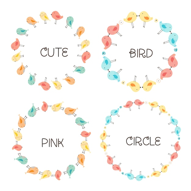 Vector set of cute bird round frames for decoration. Premium Vector
