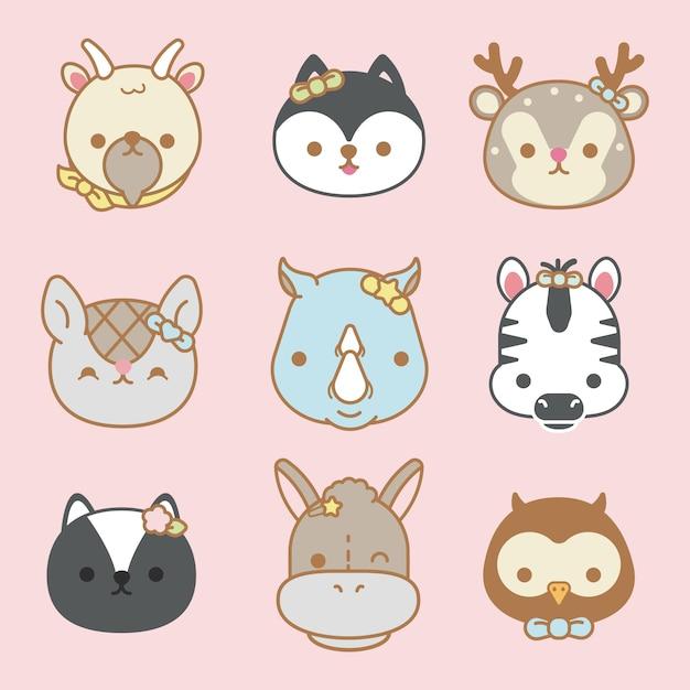 Vector set of cute cartoon animals isolated - vector Premium Vector