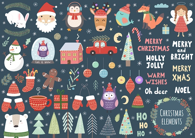 Vector set of cute christmas elements: santa, penguin, deer, bear, fox, owl, trees, snowman, bird, angel and more Premium Vector