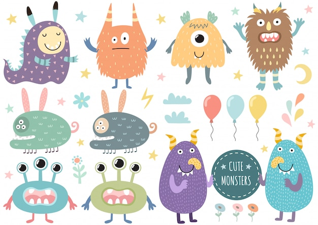 Vector set of cute monsters Premium Vector
