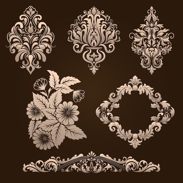 Vector set of damask ornamental elements. elegant floral abstract elements for design. perfect for invitations, cards etc. Free Vector