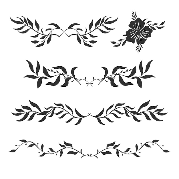 Vector set of decorative silhouettes of plants Free Vector