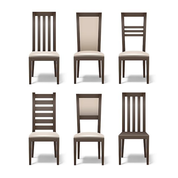 Insieme di vettore di diverse sedie da camera in legno marrone con morbido rivestimento beige isolato su priorità bassa bianca Vettore gratuito