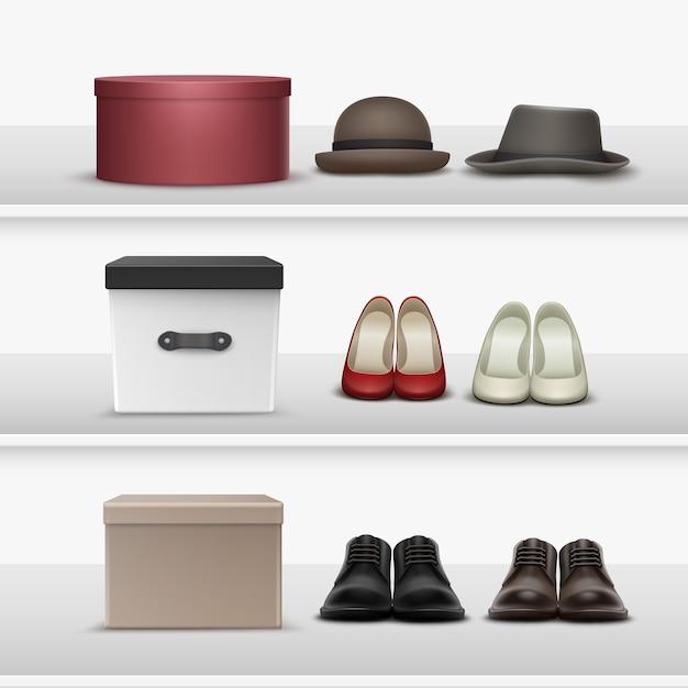 Insieme di vettore di diverse calzature e cappelli con scatole marroni, beige, bianche, nere, marrone rossiccio sugli scaffali Vettore gratuito