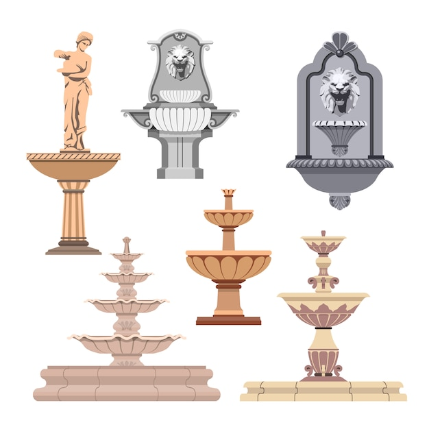 Vector set of different fountains. design elements Premium Vector