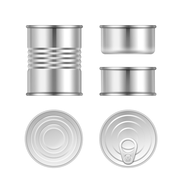 Vector set of different steel tin cans top and side view isolated on white background Free Vector