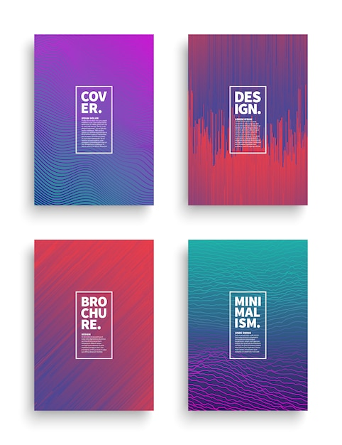 Vector set different style brochure flyer broadsheet design templates Premium Vector