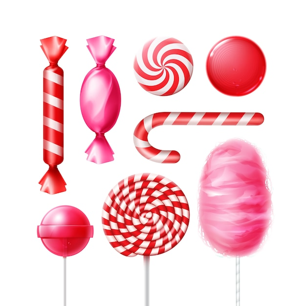 Vector set of different sweets in pink, red striped foil wrappers, swirl lollipops, xmas cane and cotton candy isolated on white background Free Vector