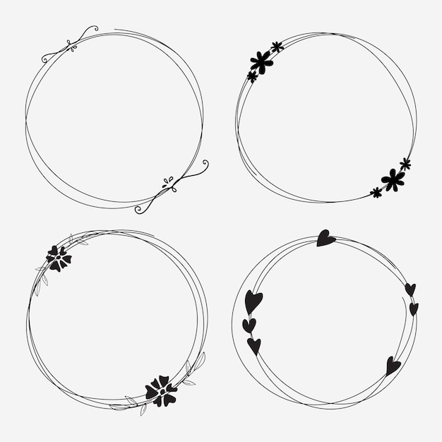 Vector set of dividers round frames for decoration. Premium Vector