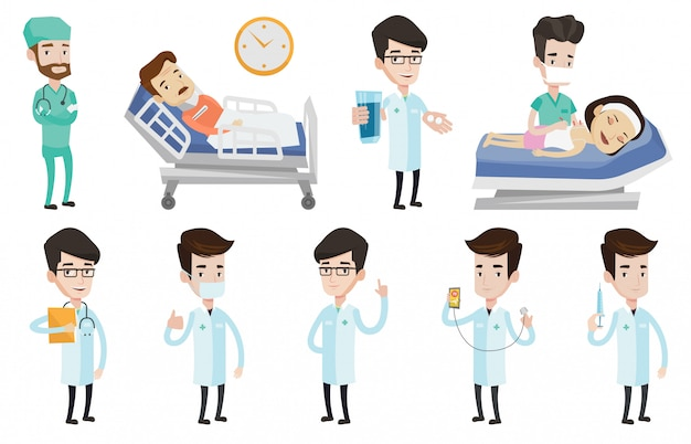 Vector set of doctor characters and patients. Premium Vector