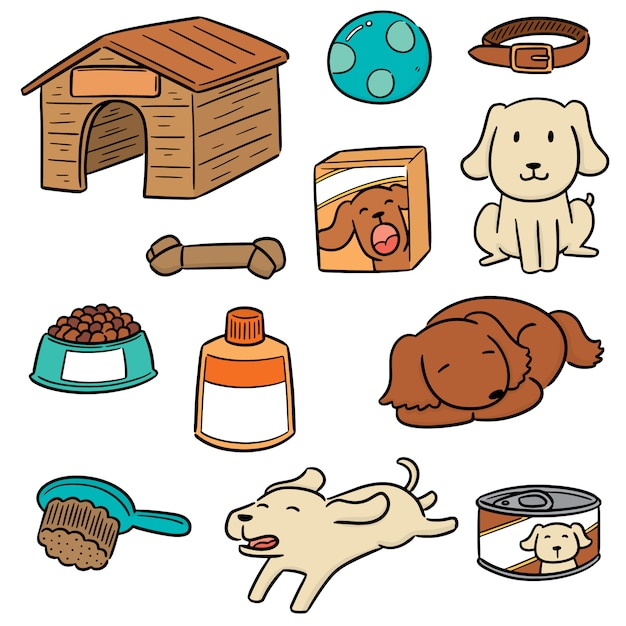 Vector set of dog accessories Premium Vector