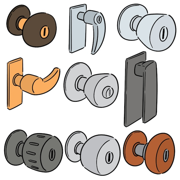Vector set of door knob Premium Vector