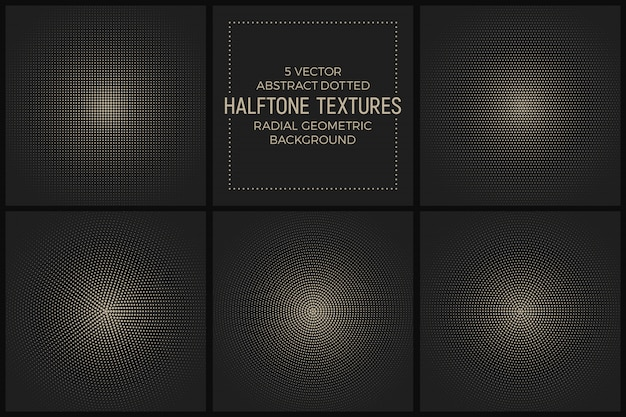 Vector set dotted radial halftone textures Premium Vector