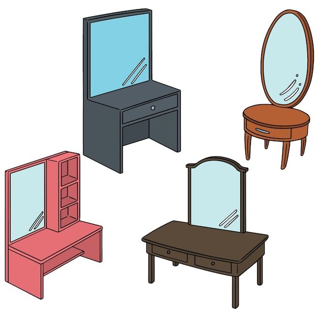 Vector set of dressing table Premium Vector