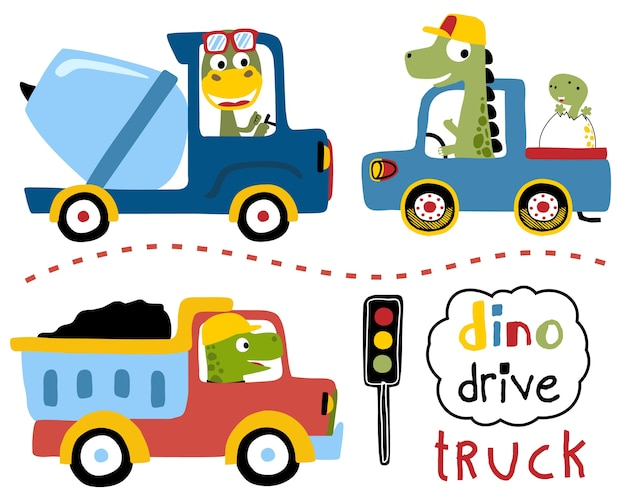 Vector Set Of Driving Trucks With Dinos Cartoon Vector