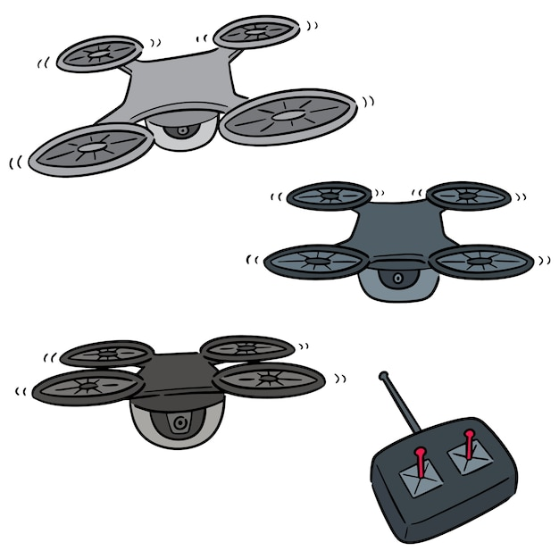 Vector set of drone Premium Vector