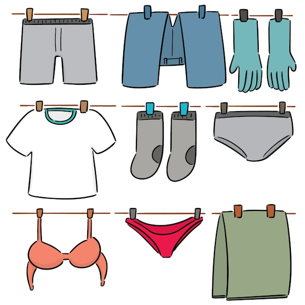 Vector set of drying clothes Premium Vector