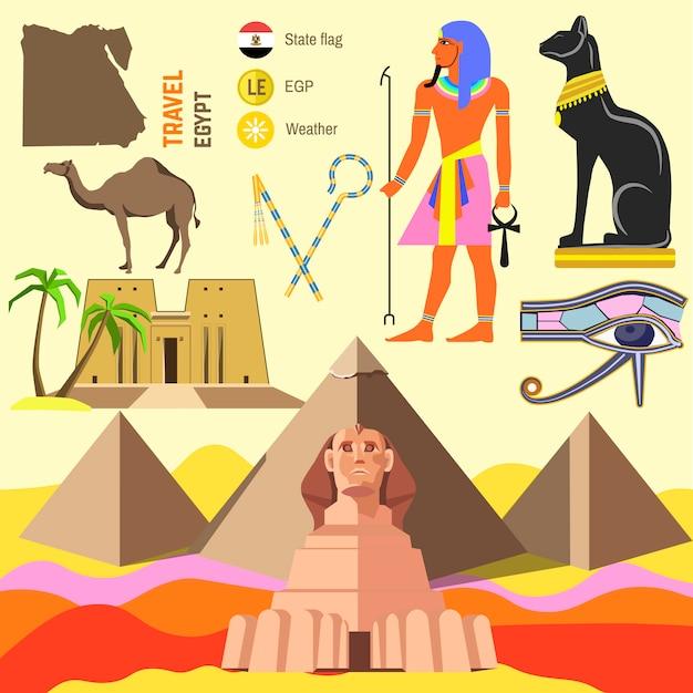 Vector set of egypt symbols. Premium Vector