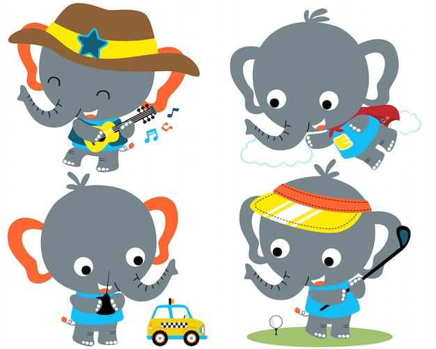 Vector set of elephant cartoon Premium Vector