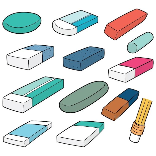 Vector set of eraser Premium Vector