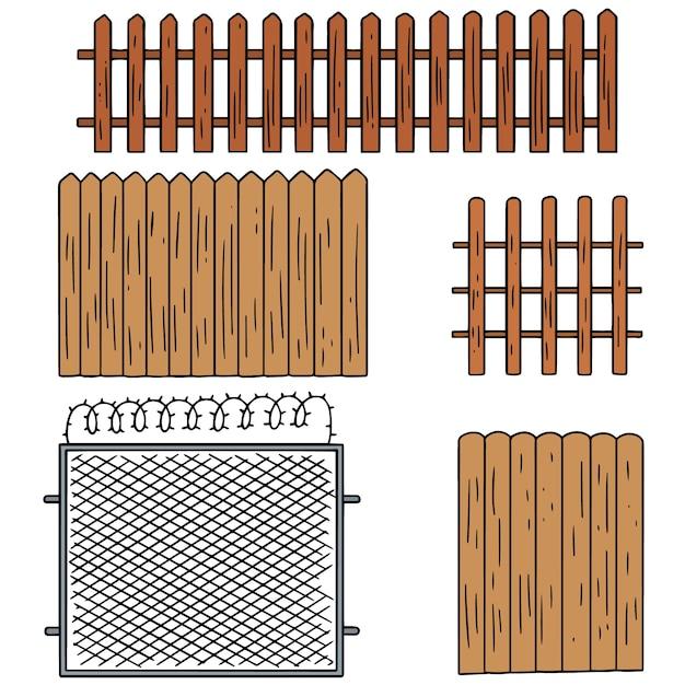 Vector set of fence Premium Vector