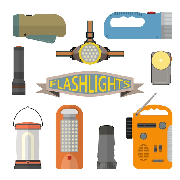 Vector set of flashlights in flat style. headlight, hand lamp, torch. Premium Vector