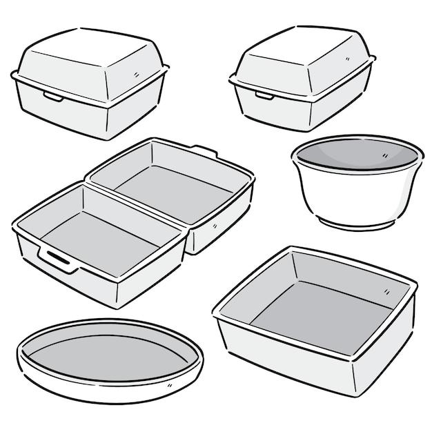 Vector set of foam container Premium Vector