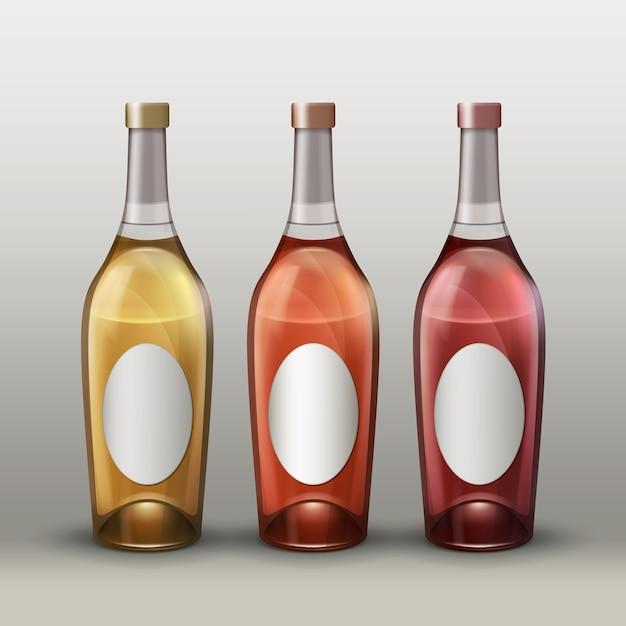 Insieme di vettore delle bottiglie colorate piene con vista frontale etichette vuote isolato su sfondo sfumato Vettore gratuito