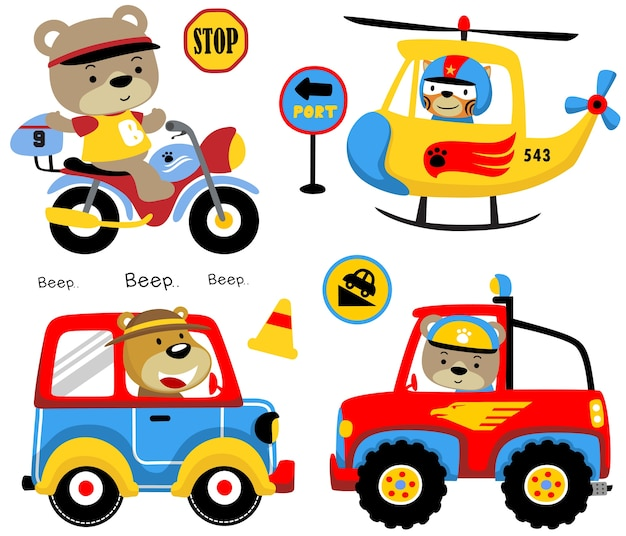 Vector set of funny animals cartoon on vehicles Premium Vector
