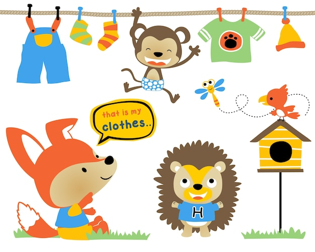 Vector set of funny animals cartoon with clothes Premium Vector