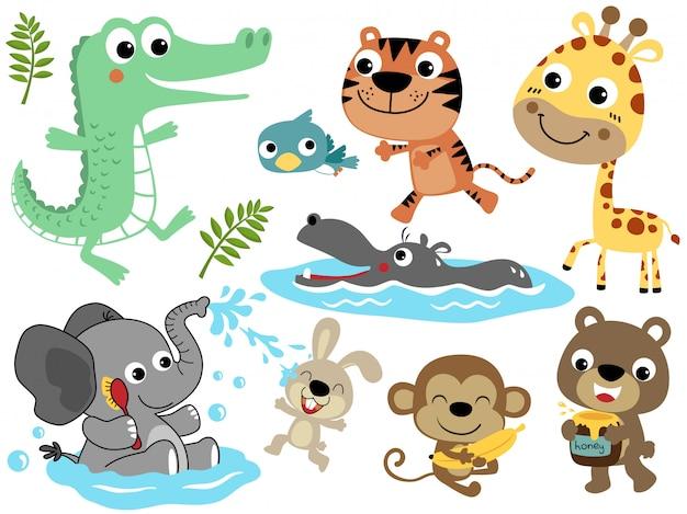 Vector set of funny animals cartoon Premium Vector