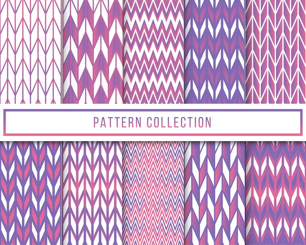 Vector set of geometric chevron zigzag seamless pattern Premium Vector