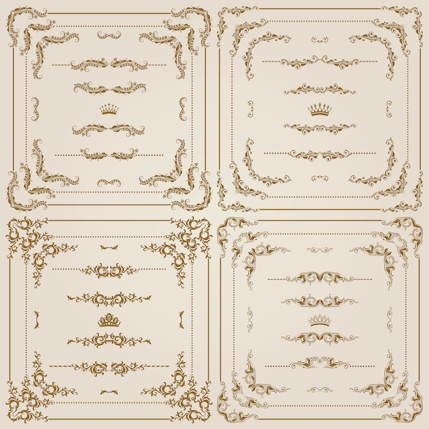 Vector set of gold decorative borders Premium Vector