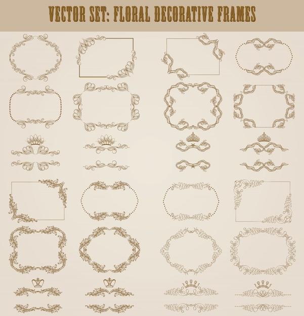 Vector set of gold decorative borders Premium Vector