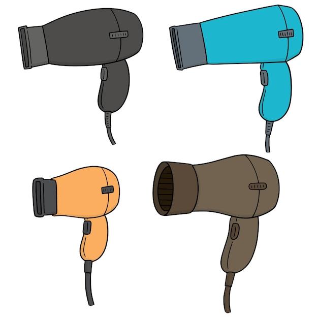 Vector set of hair dryers Premium Vector