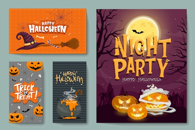 Vector set of halloween party invitations or greeting cards with handwritten calligraphy and traditional symbols. Free Vector