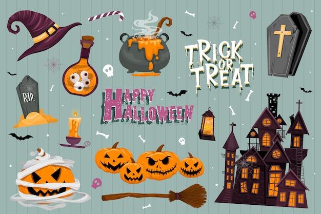 Insieme di vettore degli inviti a una festa di halloween o biglietti di auguri con calligrafia manoscritta e simboli tradizionali. Vettore gratuito