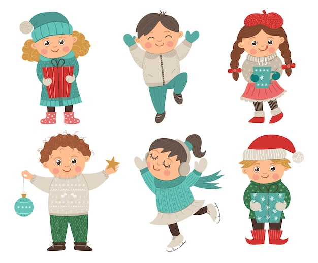 Vector set of happy children in different poses for christmas design. cute winter kids illustration with presents, decorations, hot drink. funny boy jumping with joy Premium Vector