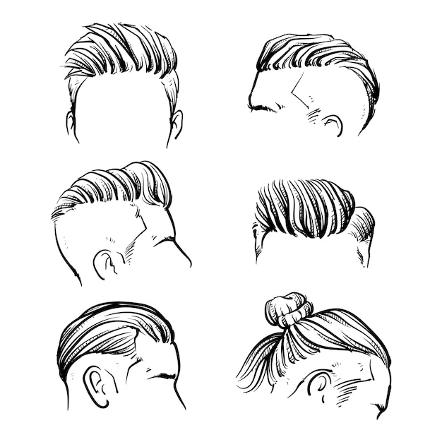 Vector set of hipster man hair style Premium Vector