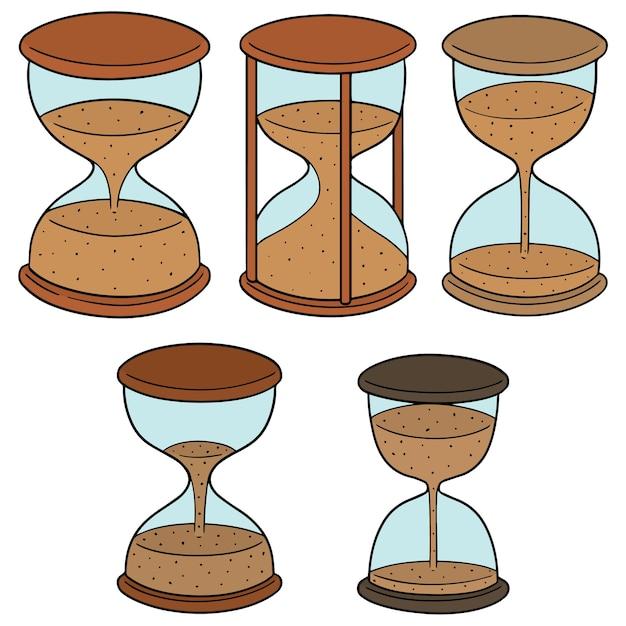 Vector set of hourglass Premium Vector