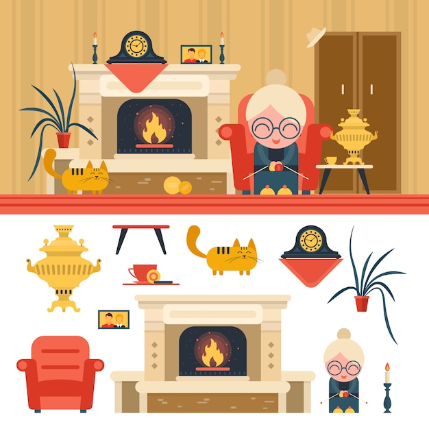Vector set of house living room interior objects. grandma sitting in chair next to fireplace. Premium Vector