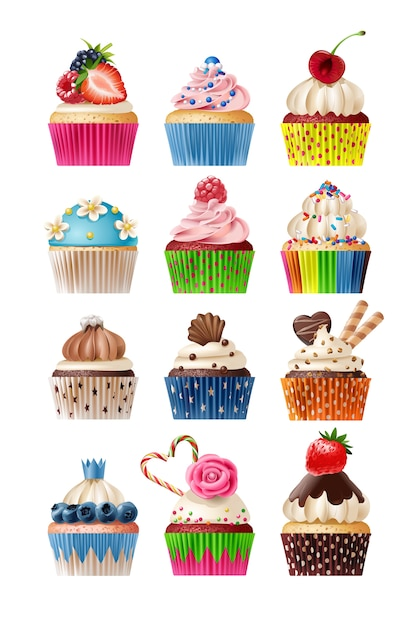 Vector set of icons sweets Free Vector