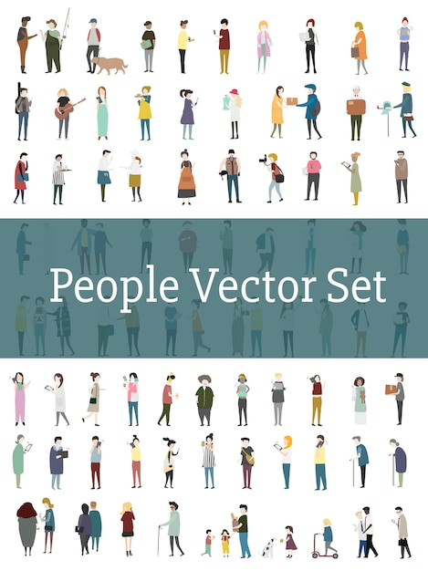 Vector set of illustrated people Free Vector