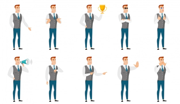 Vector set of illustrations with business people. Premium Vector